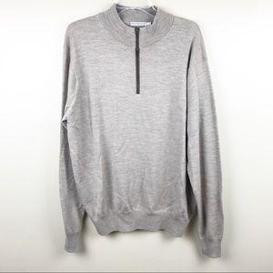 Peter Millar men's half zip merino wool sweater